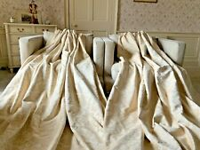 """HUGE PAIR IVORY & CREAM CHENILLE JACQUARD CURTAINS 90""""WIDE X 72"""" DROP"""
