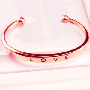 Rose Gold Womens Love Letter Cuff Bangle Bracelet Fashion Jewelry Bracelets
