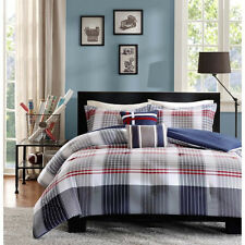 NEW BLUE RED GREY WHITE PLAID STRIPE BOYS COMFORTER SET FULL QUEEN TWIN / XL SZS