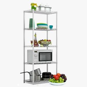 5 Tier Silver Metal Storage Rack/Shelving Wire Shelf Kitchen/Office Unit 160cm