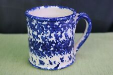 """Coffee Mug Pottery Hand Crafted Cobalt Blue Speckled Signed """"Rus"""" Rings"""