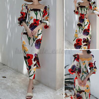 Womens Puff Sleeve Floral Midi Dress Evening Party Cocktail Dress Bodycon Dress