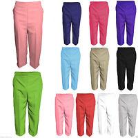 New Ladies Womens Elasticated Three Quarter Capri Cropped Trousers Pants Summer