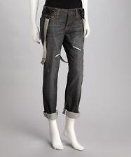 *NWT* Stitch's Denim Women's Barn Gray X-Boyfriend Jeans & Suspenders SIZE 25