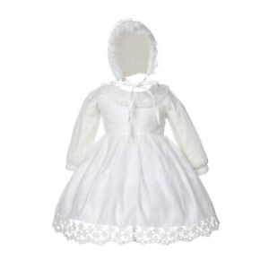 Baby Girls Long Sleeve Ivory Lace Christening Dress and Bonnet
