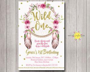 Printable Girls Birthday Invitation Floral Dreamcatchers Wild One Confetti
