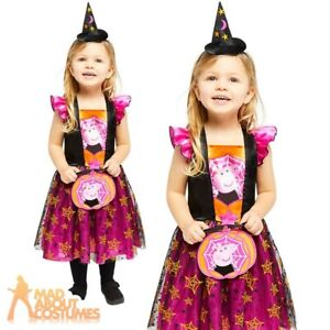 Kids Girls Peppa Pig Witches Dress Costume Halloween Childs Fancy Dress Outfit
