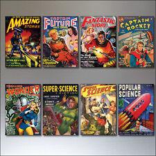 Vintage retro sci fi novels artwork set of 8 science fiction fridge magnets No.2