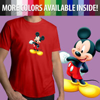 Walt Disney Mascot Mickey Mouse Wink Cute Cartoon Unisex Mens Tee Crew T-Shirt