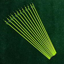 "12pcs 31"" Pure Carbon Arrows 2"" Feather Spine 300 Compound/Recurve Bows Hunting"