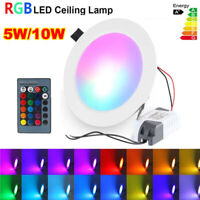 RGB LED Panel Downlight 16 Color Dimmable Recessed Ceiling Light+Remote Control