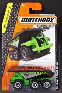 2014 Matchbox #19 3 Axle Dump Truck GREEN / MBX MINING / MOC