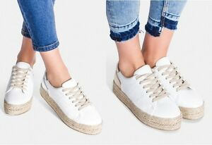 WOMENS-LADIES LACE UP FLAT DOUBLE PLATFORM CASUAL SNEAKERS NEW HIT UK STOCK