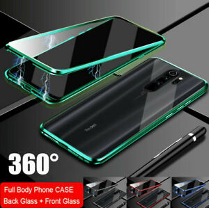 For Redmi Note 9/9s/8T Full Magnetic Adsorption Metal Case Tempered Glass Cover