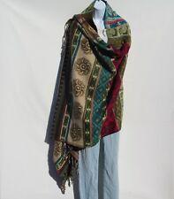 Yak Wool Blend Shawl/Throw Handloomed Nepal Reversible Base Colors: Khaki & Sand