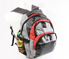 Schöner Rucksack Multifunktionsrucksack  mit vielen Fächern (grau/rot)  4504