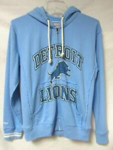 Mitchell & Ness Mens Medium Detroit Lions Full Zip Hoodie Sweatshirt A1 2048