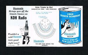 1964 San Francisco Giants Hamm's Beer MLB Baseball Pocket Schedule