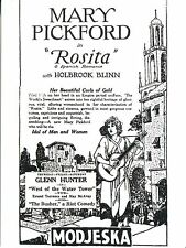 POST CARD OF A MOVIE POSTER OF MARY PICKFORD IN THE MOVIE ROSITA
