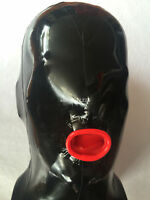 New 100% Latex Rubber New Maskenhelm Open Red Mouth Holes Size S-XXL