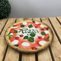 BASSANO KERAMIK TELLER SERVIERPLATTE 28 CM PIZZA 3D MOTIV AUS ITALIEN NEU