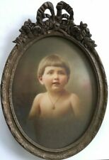 "Large 17"" Antique French Oval Wood Bow Top Photo Picture Frame Young Child"