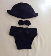 Baby Boy Knit Tuxedo 3pc SET Hat BowTie Nappy Cover Crochet Photo Props 0-3mos