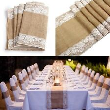 30cmx275cm Vintage Rustic Burlap Hessian & Lace Table Runners Wedding Decoration
