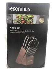 esonmus Kitchen Knife Set, 15-piece Knife Set with Wooden Block & Sharpener