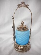 Antique Light Blue Satin Glass Swirl Pattern Victorian Pickle Castor
