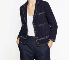 $189 Zara Womens Navy Blue Tweed Notched Collar Blazer Jacket Size XS