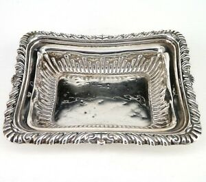 SILVER TRAY OR DISH CHESTER HALLMARKED WITH EMBOSSED DECORATION