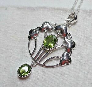 Art Nouveau Murrle Bennett style Sterling Silver and Peridot Necklace