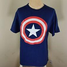 Men Marvel Captain America T shirt Size MD Blue Star Logo Short Sleeve Graphic