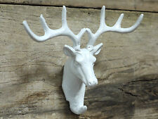 Antique Cast Iron Wall Mounted Stags Tête de cerf ANTLER Manteau Stockage Crochets Blanc