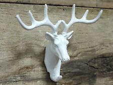 Montado en pared de hierro fundido antiguos Stags Cabeza Abrigo de cuernos de ciervo blanco ganchos de almacenamiento de información