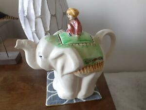 Rare and unusual art deco novelty elephant teapot with mahoot