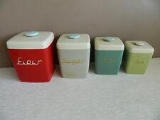 Retro Vintage Canisters 4 Piece Set 1950's Flour Sugar Rice Tea