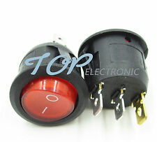 5Pcs Mini 3 Pin Round SPDT ON-OFF Rocker Switch Snap-in RED
