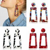 Trendy Geometric Boho Style Acrylic Resin Hook Stud Earrings Dangle Party Women