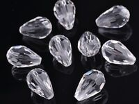 20pcs Teardrop Faceted Crystal Glass Loose Spacer Beads Charm12X8mm Clear