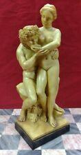 Vintage G Ruggeri Nude Man & Woman  Drinking Wine in Vineyard Sculpture Statue