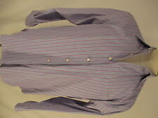 Lorenzini Mens Blue Pink Stripe Long Sleeve Dress Shirt Size 41 16-34/35 Italy