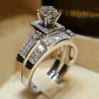2pcs/set Gorgeous Silver White Sapphire Promise Rings For Women Wedding Jewelry