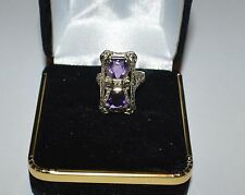 ANTIQUE 14 K GOLD DIAMOND AND AMETHYST FILIGREE RING SIZE 2.5