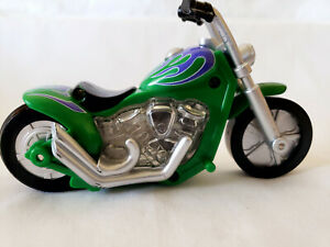 Little Tikes Friction Motorcycle Chopper Green Tested & Working