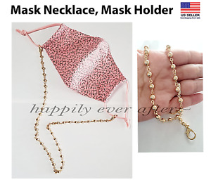 Face Mask Necklace, Mask Holder, Mask Strap, Gold Pleated Ball *US SELLER*
