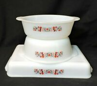 VTG LOT Fire King Anchor Hocking White MILK GLASS Pink Floral Casserole dishes