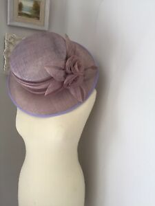 NEW Designer Taupe Wedding Ascot Hat Occasion Mother Of The Bride Flowers