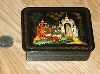 VINTAGE RUSSIAN FAIRY TALE BLACK LACQUER RECTANGULAR TRINKET BOX! SIGNED!